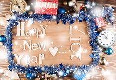 Buon anno di legno dell'iscrizione Fotografie Stock Libere da Diritti