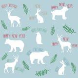 Buon anno di Buon Natale di slogan con gli animali piani Immagine Stock