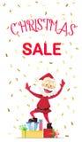 Buon anno di Santa Claus e sconti di Natale Fotografia Stock