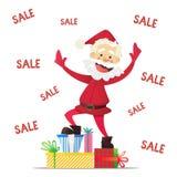 Buon anno di Santa Claus e sconti di Natale Fotografie Stock Libere da Diritti