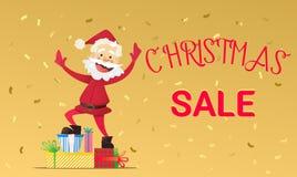 Buon anno di Santa Claus e sconti di Natale Immagini Stock Libere da Diritti