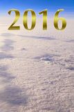 Buon anno dorato 2016 alto sopra le nuvole Immagine Stock Libera da Diritti