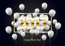 Buon anno dorato 2017 con i palloni bianchi, illustrazione Fotografia Stock Libera da Diritti