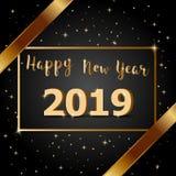 Buon anno dorato 2019 dell'arco con fondo scuro illustrazione vettoriale