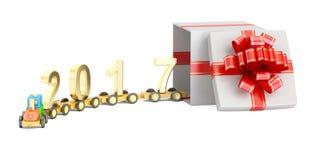 Buon anno 2017 e Buon Natale con Toy Train di legno royalty illustrazione gratis