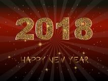 Buon anno 2018 Fondo di vettore Elementi tipografici di vacanza invernale e di desideri su fondo scuro Illustrazione brillante Fotografia Stock