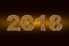 Buon anno 2018 Fondo di vettore Elementi tipografici di vacanza invernale e di desideri su fondo scuro Illustrazione brillante Fotografia Stock Libera da Diritti