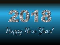 Buon anno 2018 Fondo di vettore Elementi tipografici di vacanza invernale e di desideri su fondo scuro Illustrazione FO di saluto Fotografia Stock Libera da Diritti