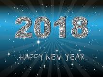 Buon anno 2018 Fondo di vettore Elementi tipografici di vacanza invernale e di desideri su fondo scuro Illustrazione FO di saluto Fotografia Stock