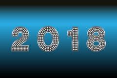 Buon anno 2018 Fondo di vettore Elementi tipografici di vacanza invernale e di desideri su fondo scuro Illustrazione FO di saluto Immagine Stock Libera da Diritti