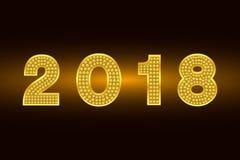 Buon anno 2018 Fondo di vettore Figure dell'oro con il cristallo di rocca Illustrazione di saluto per natale Modello per l'invito Immagine Stock