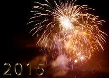 Buon anno 2015 - fuoco d'artificio di notte Immagini Stock Libere da Diritti