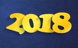 Buon anno giallo 2018 su una disposizione blu del documento introduttivo Fotografia Stock