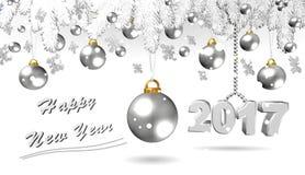 Buon anno, illustrazione d'argento 3D Fotografie Stock