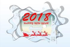 Buon anno 2018 Illustrazione dei punti di riferimento di New York, carta Immagine Stock Libera da Diritti