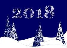 Buon anno, 2018, illustrazione di Buon Natale Fotografia Stock