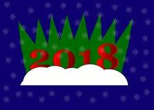 Buon anno, 2018, illustrazione di Buon Natale Fotografie Stock Libere da Diritti