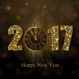 Buon anno 2017 Illustrazione di vettore con l'orologio dell'oro Immagine Stock