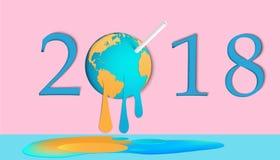Buon anno 2018 Illustrazione grafica di una terra di fusione, concetto per riscaldamento globale Immagini Stock Libere da Diritti