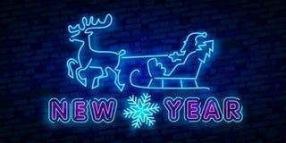 Buon anno 2019 Insegna al neon dei cervi Segno al neon Partito di notte marchio bandiera Buon Natale Renna sveglia con le palle d royalty illustrazione gratis