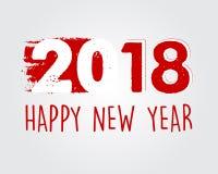 Buon anno 2018 in insegna disegnata rossa Fotografie Stock Libere da Diritti