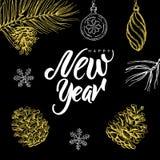 Buon anno! L'iscrizione ed il natale scritti mano scarabocchiano su fondo nero Immagine Stock Libera da Diritti