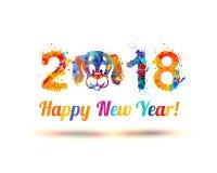 Buon anno 2018 Museruola del cane Fotografie Stock Libere da Diritti