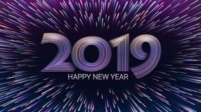 Buon anno 2019 Natale Esplosione dei fuochi d'artificio e del saluto Luci che luccicano le particelle effetto di incandescenza ce royalty illustrazione gratis