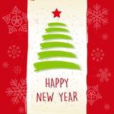 Buon anno nel retro telaio beige, cartolina d'auguri Immagine Stock Libera da Diritti
