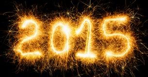 Buon anno, numeri ardenti Fotografia Stock Libera da Diritti