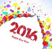 Buon anno 2016 Priorità bassa variopinta astratta della bandiera illustrazione vettoriale