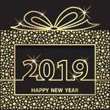 Buon anno 2019 Regalo dorato di saluto di celebrazione di festa royalty illustrazione gratis