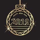Buon anno 2019 Saluto di celebrazione di festa con l'ornamento dorato della palla illustrazione di stock