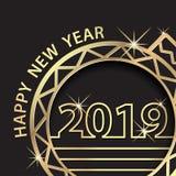 Buon anno 2019 Saluto di celebrazione di festa con l'ornamento dorato della palla royalty illustrazione gratis