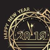 Buon anno 2019 Saluto di celebrazione di festa di conto alla rovescia illustrazione vettoriale