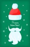 Buon anno Santa Claus Cap e barba bianca Immagine Stock Libera da Diritti