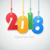 Buon anno semplice 2018 della cartolina d'auguri Fotografia Stock