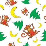 Buon anno senza cuciture 2016 del modello, scimmie, banane ed alberi Immagini Stock