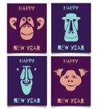 Buon anno stabilito della scimmia Immagini Stock