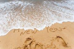 Buon anno 2017 sulla spiaggia Immagine Stock Libera da Diritti