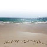 Buon anno sulla spiaggia fotografia stock