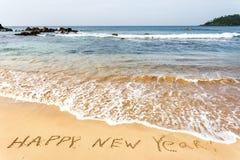 Buon anno 2017 sulla spiaggia Fotografia Stock