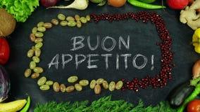 Buon appetito Włoski owocowy zatrzymuje ruch, w Angielskiej bon oskomie zdjęcia stock