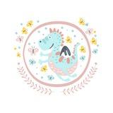 Buon autoadesivo di Dragon Fairy Tale Character Girly nel telaio rotondo Immagine Stock
