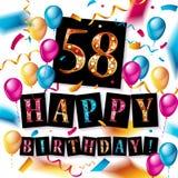 Buon compleanno 58 anni di anniversario Fotografia Stock