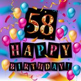 Buon compleanno 58 anni di anniversario Fotografie Stock Libere da Diritti