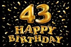 Buon compleanno 43 anni di anniversario di celebrazione di gioia illustrazione 3d con i palloni brillanti dell'oro & coriandoli d royalty illustrazione gratis