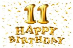 Buon compleanno 11 anno di anniversario di celebrazione di gioia illustrazione 3d con i palloni brillanti dell'oro & coriandoli d Fotografia Stock