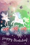 Buon compleanno Bella cartolina d'auguri con la ragazza e l'unicorno leggiadramente in foresta magica Fotografie Stock Libere da Diritti