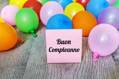 Buon Compleanno Card with Balloons Stock Images